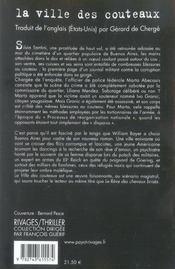 La Ville Des Couteaux - 4ème de couverture - Format classique