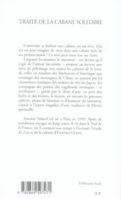 Traite De La Cabane Solitaire - 4ème de couverture - Format classique