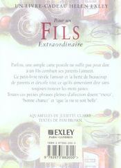 Pour Un Fils Extraordinaire Nlle Edition - 4ème de couverture - Format classique