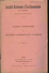 Statuts Constitutifs Et Reglement D4administration Interieure - Couverture - Format classique