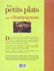 Les petits plats aux champignons - 4ème de couverture - Format classique