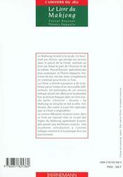 Livre Du Mahjong - 4ème de couverture - Format classique