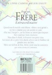 Pour Un Frere Extraordinaire Nlle Edition - 4ème de couverture - Format classique