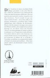 Dictionnaire des postures amoureuses - 4ème de couverture - Format classique