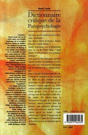 Dictionnaire critique de la parapsychologie - 4ème de couverture - Format classique