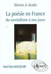 La Poesie En France Du Surrealisme A Nos Jours - Intérieur - Format classique
