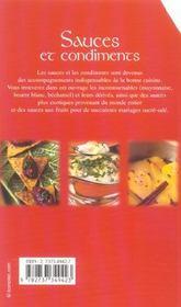 Sauces et condiments - 4ème de couverture - Format classique