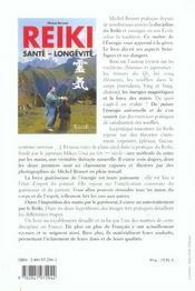 Reiki - Sante. Longevite - 4ème de couverture - Format classique