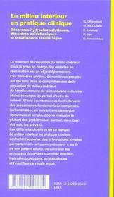 Le Milieu Interieur En Pratique Clinique : Desordres Hydroelectrolytiques, Acidobasiques Et Insuffis - 4ème de couverture - Format classique