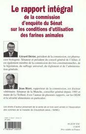 Farines Animales ; Rapport Senat - 4ème de couverture - Format classique