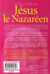 Jésus le nazaréen - 4ème de couverture - Format classique