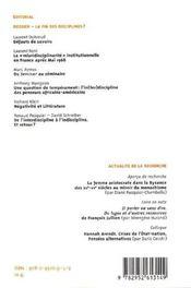 Labyrinthe - Atelier Interdisciplinaire N.27 ; La Fin Des Disciplines ? - 4ème de couverture - Format classique