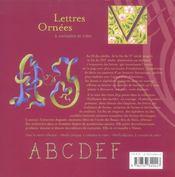 Lettres Ornees A Connaitre Et Creer - 4ème de couverture - Format classique