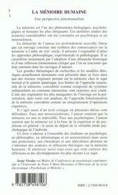 La Memoire Humaine ; Une Perspective Fonctionnaliste - 4ème de couverture - Format classique