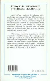 Éthique, épistémologie et sciences de l'homme - 4ème de couverture - Format classique