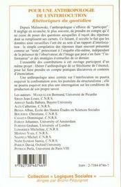 Pour Une Anthropologie De L'Interlocution ; Rhetoriques Du Quotidien - 4ème de couverture - Format classique