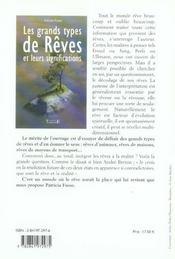 Grands Types De Reves Et Leurs Significations - 4ème de couverture - Format classique