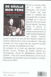De Gaulle, mon père t.1 ; première et seconde partie - 4ème de couverture - Format classique