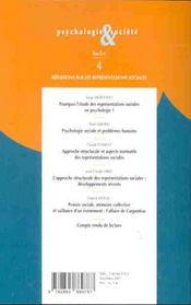 Psychologie Et Societe T.4 ; Reflexions Sur Les Representations Sociales T.2 - 4ème de couverture - Format classique