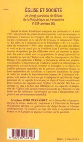 Eglise Et Societe ; Le Clerge Paroissial De Bilbao De La Republique Au Franquisme 1931-Annes 50 - 4ème de couverture - Format classique