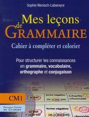 Mes leçons de grammaire ; CM1 ; cahier - Intérieur - Format classique