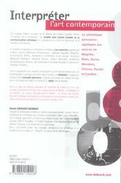 Interpreter L'Art Contemporain - 4ème de couverture - Format classique