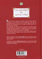 Mes Remedes De Grand-Mere - 4ème de couverture - Format classique