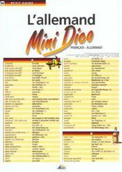 Petit Guide T.94 ; L'Allemand ; Mini Dico ; Francais-Allemand - Intérieur - Format classique