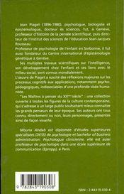 Jean Piaget - 4ème de couverture - Format classique