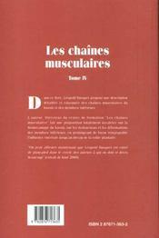 Les Chaines Musculaires T.4 ; Membres Inferieurs - 4ème de couverture - Format classique