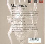 Masques, Esprits D'Afrique - 4ème de couverture - Format classique