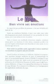 Le yoga; bien vivre ses émotions - 4ème de couverture - Format classique