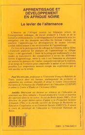 Apprentissage Et Developpement En Afrique Noire ; Le Levier De L'Alternance - 4ème de couverture - Format classique