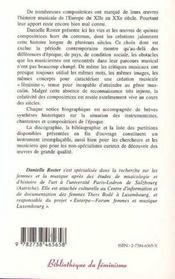 Les femmes et la création musicale ; les compositrices européennes du Moyen Age au milieu du XXe siècle - 4ème de couverture - Format classique