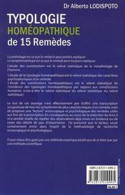 Typologie homéopathique de 15 remèdes - 4ème de couverture - Format classique