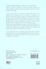 L'emir abd el-kader, temoin et visionnaire - 4ème de couverture - Format classique