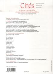 Revue Cites T.56 ; La Philosophie En France Aujourd'Hui - 4ème de couverture - Format classique