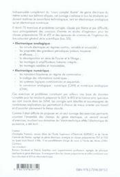Genie Electrique Exercices Et Problemes Corriges Electronique Analogique Et Numerique Iut Bts Cpge - 4ème de couverture - Format classique