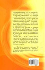 Introduction A La Toxicologie Nutritionnelle - 4ème de couverture - Format classique