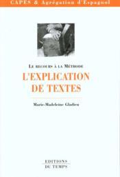 L'Explication De Texte - Couverture - Format classique