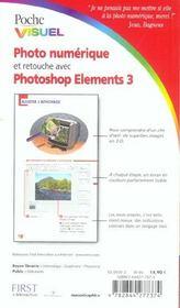 Photo Numerique Et Retouche Avec Photoshop Element 3 - 4ème de couverture - Format classique