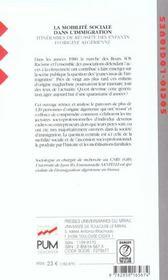La Mobilite Sociale Dans L Immigration - 4ème de couverture - Format classique