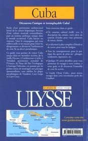 Guide Ulysse ; Cuba ; 4e Edition - 4ème de couverture - Format classique