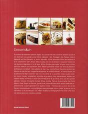 Desserts et vin ; desserts créatifs des étoiles de la pâtisserie - 4ème de couverture - Format classique
