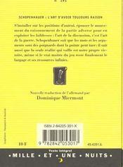 L'Art D'Avoir Toujours Raison - 4ème de couverture - Format classique