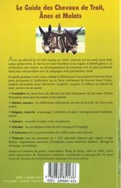 Le guide des chevaux de trait anes et mulets - 4ème de couverture - Format classique