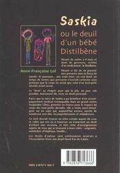 Saskia Ou Le Deuil D'Un Bebe Distilbene - 4ème de couverture - Format classique