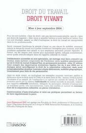 Droit Du Travail Droit Vivant 2004-2005 - 4ème de couverture - Format classique