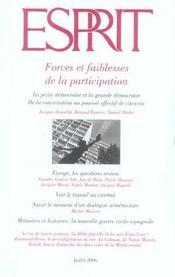 Revue Esprit ; Forces Et Faiblesses De La Participation - Intérieur - Format classique