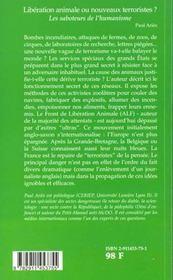 Liberation Animale - 4ème de couverture - Format classique